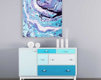 Orbit Abstract Expressionist Fluid Painting on Canvas - Navy Blue, Purple, Turquoise, and White Abstract Painting by Louise Mead