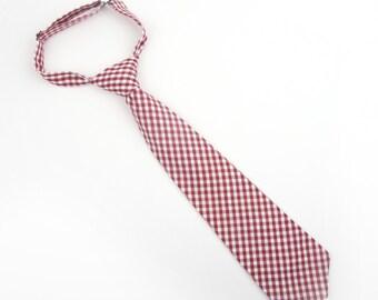 Burgundy Gingham tie, boy's pre-tied tie, dark red gingham tie, burgundy check tie, wine gingham tie, kid's tie, gingham tie, burgundy tie