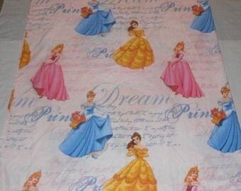 DISNEY PRINCESS Flat Full Sheet Fabric Material Craft 91.5 x 75 Pink Diary Dream