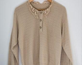 Womens vintage sweater / light beige / fall / small - medium