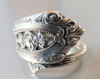 Vintage Spoon Ring Sterling Silver Wallace Rose Point Size 10