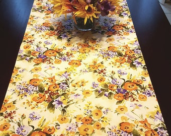 Yellow Floral Table Runner, Orange Floral Table Runner, Spring Table Runner, Summer Table Runner