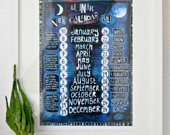 Magical 2018 lunar calendar, DIGITAL DOWNLOAD