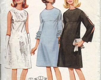 High Waist A Line Dress Pattern, Mod Dress, Sleeveless, Open Seam Sleeve, or Ruffle Sleeve, Vintage Butterick Pattern, Size 12 Bust 32