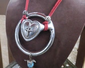 Heart-Shaped Western Cowgirl Recycled Horse Harness Buckle Necklace