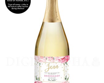 Bridesmaid Gift CHAMPAGNE LABELS Bridesmaid Proposal Champagne Gift Label Ask Bridesmaid Maid of Honor Gift Label Bridal Party Gift - Jenn