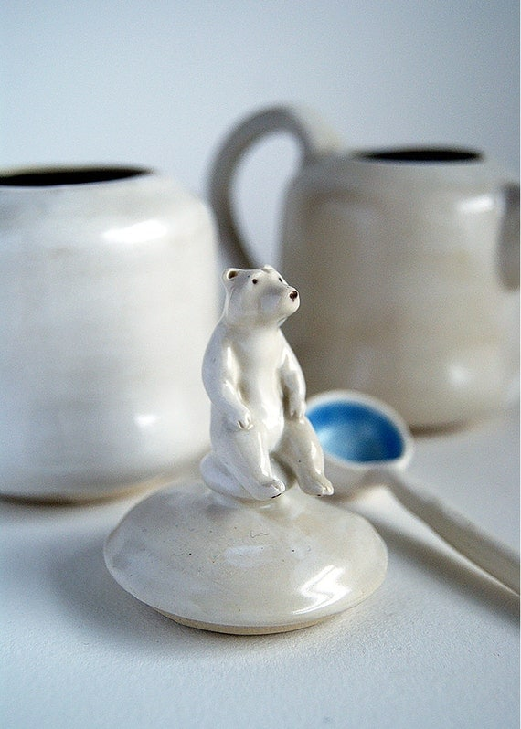 polar bear sugar bowl and creamer set with spoon - hand-built white and blue