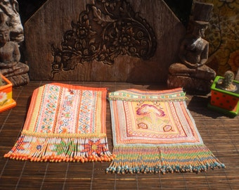 Embroidered Textile, Cross Stitch Tribal Emboidery, Homong Vintage Textile, Set of 2 Beaded