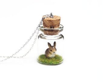 Rabbit Bottle Necklace, Baby Bunny, Spring Miniature Wildlife - miniature wild rabbit in 3cm tall terrarium necklace, 16 inch chain