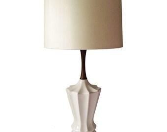 Mid-Century Modern Ceramic & Wood Lamp