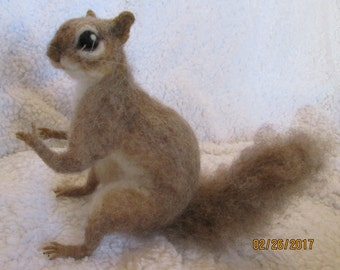 needle felt animal, Life sized brown squirrel  custom made for me by Hannah Stiles fully posable, finest needle felt work around