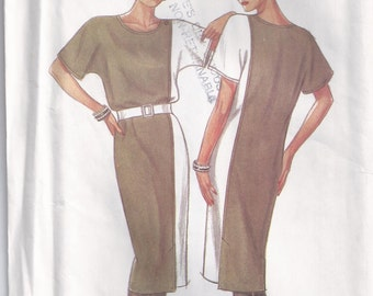 Collarless Dress With Color Blocking Size 8 10 12 14 16 18 Sewing Pattern New Look 6830 Plus Size