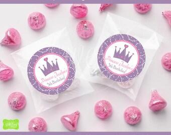 Princess Birthday Stickers - Princess Favor Stickers - Royal Princess Gift Stickers - Thank You Stickers - Digital or Printed Available
