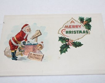 Antique Christmas Postcard Santa Claus and A Chimney