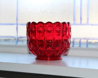 Red Moon and Stars Dish Vintage L E Smith Glass 1960s