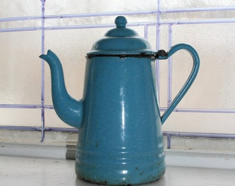 Antique Enamelware Coffee Pot Goose Neck Spout Robins Egg Blue