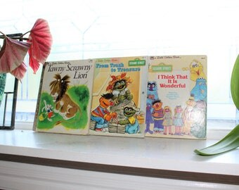 3 Little Golden Books Sesame Street Tawny Scrawny Lion Childrens Book