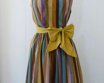 50's Striped Day Dress Olive Mustard Woven Cotton Tie Spaghetti Strap Sundress Bow Belt S