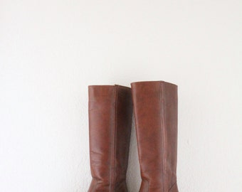 Vintage 70's Dexter Knee High Leather Boots / 7/7.5