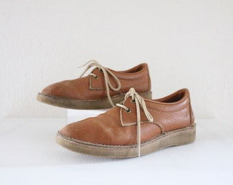 70's Caramel Cherokee Leather Lace Ups / 7