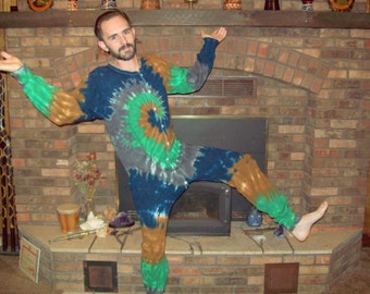 S M L XL 2XL Tie Dye Long Johns, Tie dye union suit, pajamas, adult one piece, Camo tie dye thermal