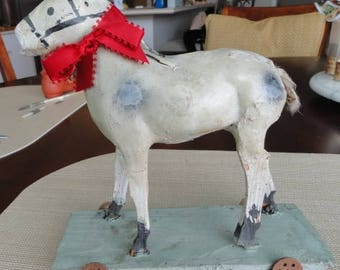 Antique German Grey Toy Horse on Wheels     C959