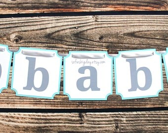 Blue and Gray Baby Banner. Gray baby boy banner. Blue and grey decorations. Baby Shower. Elephant banner Gray baby shower. First Birthday