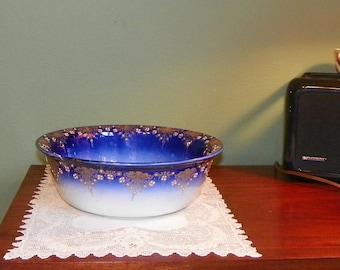 Antique POLYCHROME Deep BOWL Flo Blue Luneville France Pitcher Bowl Basin Pot Ironstone transferware