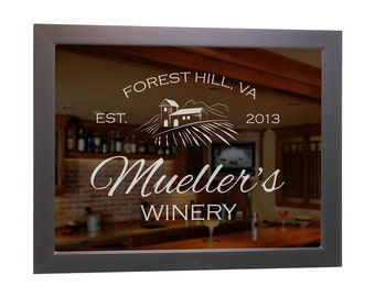 "Custom Bar Mirror (Wine) 18"" x 24"" w/ Hardwood Frame, Personalized Bar Mirror, Wine Bar Mirror, Etched Bar Mirror, Custom Winery Wall Mirror"