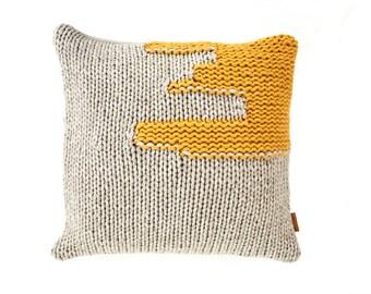 throw pillow thum - hand knitted pillow cover from virgin Merino wool, gray & yellow