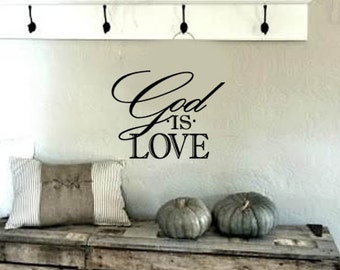 FAMILY Wall Quotes Decal -God is Love- Scripture - Vinyl Wall Art - Wall sayings