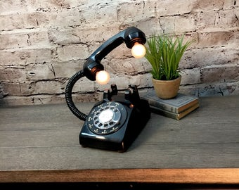 Table Lamp Upcycled Vintage BLACK Rotary Telephone