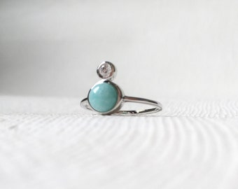 The Orb - Silver Stacking Ring, Amazonite Ring, Gifts for her