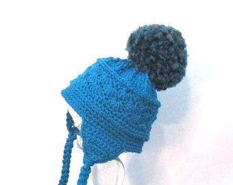 Teal baby winter hat with large pom pom.  Ready to ship unisex baby winter ski hat.  Crochet infant winter hat with braids.  Earflap hat.