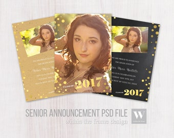 Senior Card Template Gold Foil Look for Photographers, Instant Download, PSD Files, 5x7 Photo Card Template, Photography, Chalkboard