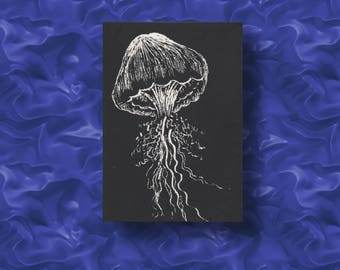 Méduse / Jellyfish Original Art ACEO, made by engraving on scratchboard.