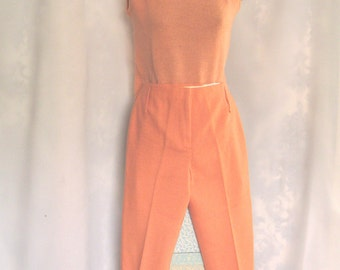Vintage Peach Sleeveless Sweater and Pedal Pushers, 1960's peach outfit