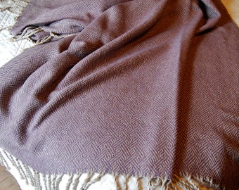 Silk and Baby Alpaca Handwoven Throw- Heather