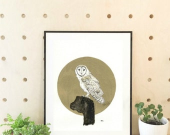Fine Art Print, Owl Watercolor Painting, Barn Owl Print, Owl Art, Beautiful Barn Owl, Owl Illustration, 9x12 Print