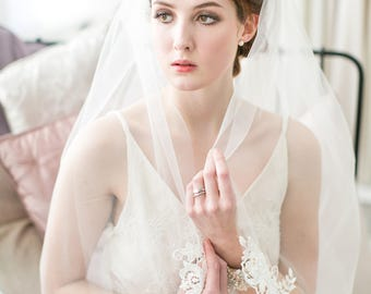 Stella Beaded Lace Single Tier Wedding Veil in Ivory, White in all lengths including elbow, fingertip, floor, chapel and cathedral