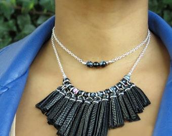 Black Leather Fringe Necklace, Black Statement Necklace, black necklace, black bib necklace, tassel bib necklace, Leather Fringe Necklace
