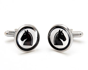 Black Knight Chess Cufflinks - Chess Cufflinks - Chess Pieces - Cool and Unique Gifts for Men - Graduation Gift Ideas - Men's Accessories