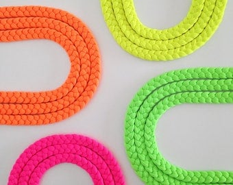 Neon necklace, braided necklace, neon choker - The triple braid necklace - handmade in neon fabric