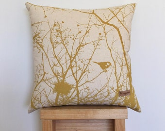 Winter Nest Cushion Cover in Mustard.