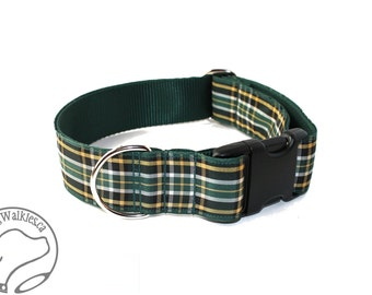 "Irish National Tartan Dog Collar - 1.5"" (38mm) Wide - Green and Gold Plaid - Martingale or Quick Side Release - Choice of style and size"