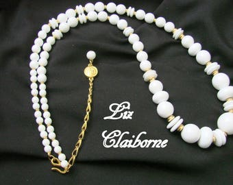 Vintage Liz Claiborne White Lucite Bead Necklace / Goldtone / Designer Signed / Graduated Beads / Jewelry / Jewellery