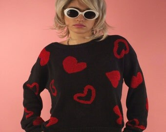 Vintage Carole Little Red Heart Sweater for Valentine's Day Sweetheart Love Romantic Sparkles Red and Black