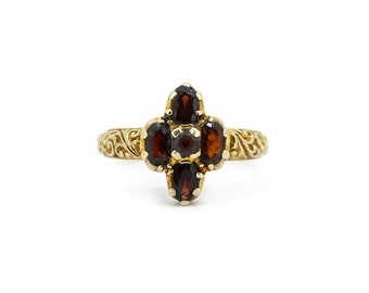 The Ornate Garnet Cross Ring - 9ct Gold Vintage Carved Ring