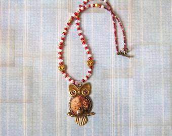 Kitty Love Vintage Owl Resin Pendant