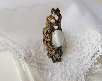 Armor Ring with White Quartz Stone, Bronze Filigree Goth Knuckle Ring